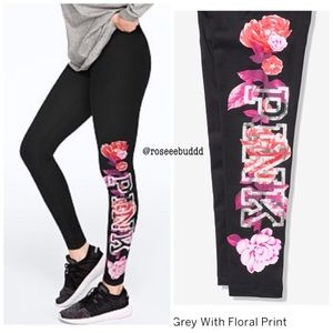 🆕🌺VS PINK Bling Floral Cotton Legging